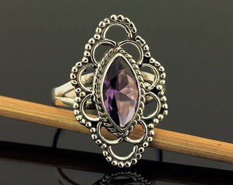 Artisan Amethyst Ring // 925 Sterling Silver // Ring Size 7 // Handmade Jewelry