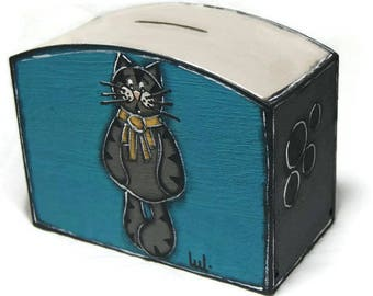 Blue piggy bank with gray cat - Painted wooden money box for coins and banknotes - Money box with opening