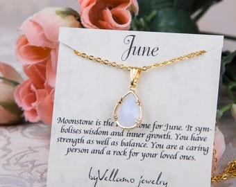 June Moonstone birthstone, Gold Teardrop Necklace, White Drop Gold Necklace, June Birthstone Jewelry, Personalized Gold Bridesmaids Necklace