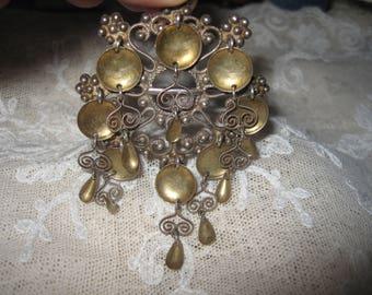 Vintage Silver 830 Solje Wedding Brooch Norway Top Patina
