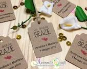 Cartellini kraft personalizzati, 30 pezzi, bomboniere, avana, etichette,matrimonio, battesimo, bigliettini carta kraft, carta riciclata