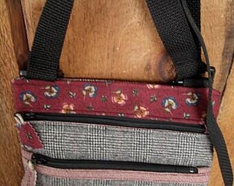 CIJSALE Wool Plaid Maroon Floral Fabric  Zippered Cross Body Purse