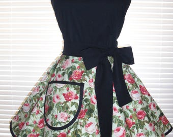 Fifties Style Sweetheart Retro Apron Minty Seafoam Green with Pink Roses Paired with Black Featuring a Full Circular Flirty Skirt