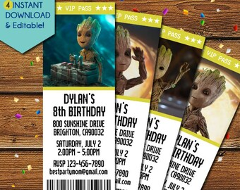 Groot Invitation, Guardians of the Galaxy Groot Invitation, Baby Groot Birthday Invitation, Groot Party Invitation, I am Groot, Movie