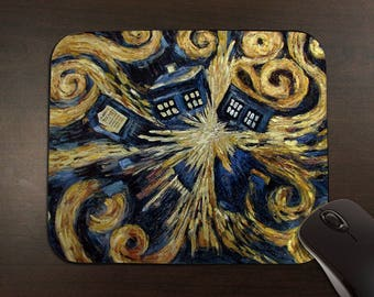 Doctor Who: Van Gogh Exploding TARDIS Mouse Pad // Mousepad //
