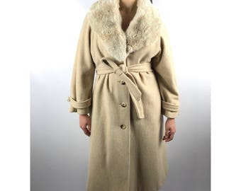 1970's cream long wool coat with coyote fur collar