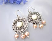 925 sterling silver chandelier earrings freshwater pearl ivory white peach bohemian upcycled recycled vintage baroque art deco  ornate boho
