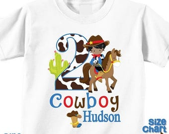 SALE Personalized Cowboy Western African American Birthday Party Shirt T-shirt Bodysuit Western Cowboy Hat Rope Cactus West Pretend Dress Up