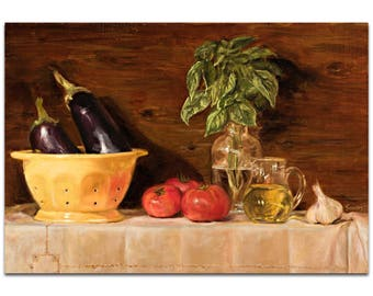 Traditional Wall Art 'Eggplant' by Trish Savides - Still Life Decor Country Rustic Kitchen Artwork on Metal or Plexiglass