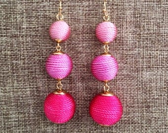 BUBBLE DROP Earrings in Gorgeous Pink Ombre  Bridesmaid Gift Wedding Jewelry Silk Earrings Bridesmaid Earrings Bon Bon Earrings