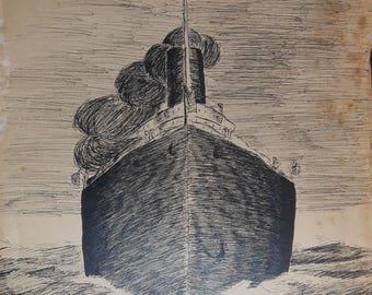 five vintage   thomaston Maine folk art drawings signed ca.1915