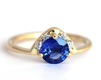 ON SALE Blue Sapphire Engagement Ring, Blue Sapphire Ring, One Carat Sapphire Ring, Diamond Sapphire Ring, Round Sapphire Ring, Royal Blue S