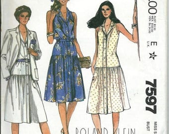 ON SALE Roland Klein McCall's 7597 Misses Dropped Waist Dress and Jacket Pattern, Sizes 8 & 12 UNCUT