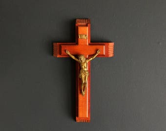 Vintage Wood Crucifix Sick Call Set Catholic Faith Cross With Jesus Christ Wall Hanging Religous Decor