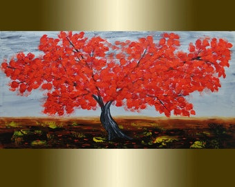 Oil Painting Red Blooming Tree palette knife.