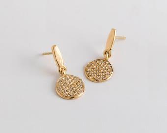 White Diamonds Dangle Earrings, Yellow Gold Diamond Earrings, Diamonds Organic Earring 18k Yellow Solid Gold Earrings Dangle