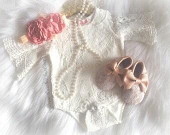 Vintage Boho Lace onesie