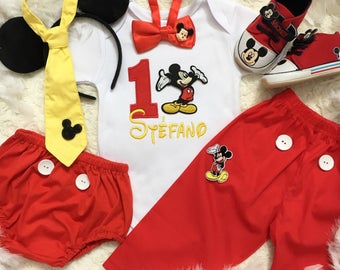 2 Pieces -Mickey mouse Inspired Birthday outfit -includes personalised top and bottom