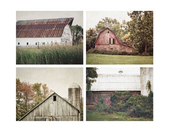 Barn Photography Set, Rustic Country Farmhouse Decor, Gallery Wall, Set of 4, Barn Landscape Art, Large Wall Art, Farm Pictures