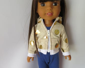 "Made To Fit Like 14.5"" Wellie Wishers Doll Clothes; Doll Zippered Hoodie ONLY; Doll Hoodie; Heart Hoodie for 14.5"" Doll"