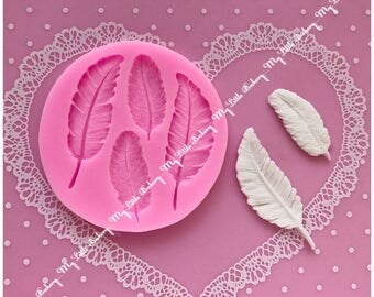 Feather silicone mold for cookie decorating