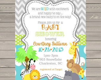 30 Jungle Animals Baby Shower invitations with envelopes -safari animals-ANY COLORS