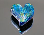 Heart Cabochon, Blue Heart, Blue Heart Tile, Dichroic Heart, Fused Glass Heart, Dichroic Cabochon, Jewelry Cabochon, Small Heart Cab