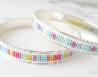 DIY Cross Stitch Jewelry Kit, Embroidered Bracelet, Modern Cross Stitch Pattern in Pink, Lime Green, and Aqua Blue