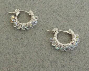 Crystal Hoop Earring, Sterling Silver Hoop Earring, Boho Crystal Hoops, Small Hoop Earring, Wire Wrapped Crystal Hoop Earrings