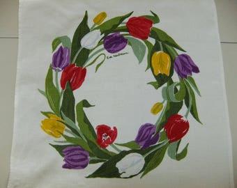Vintage Swedish hand printed linen tablecloths - Tulip wreath - Jobs Handprint Leksand - Eva Nordström design