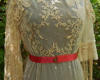 Antique lace dress embroidered light coffee floral lace tulle wedding circa 1910 vintage wedding