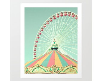 Nursery wall art, nursery decor, canvas art, nursery wall decor, ferris wheel art, coral nursery decor, toddler girl room decor, boy