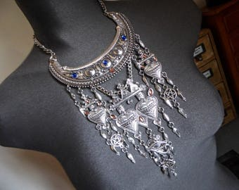 Silver bib necklace tribal ethnic ♰666 666♰ Goddess pentagram