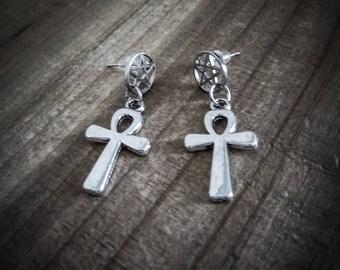 "Earrings silver goth tiny ankh ""666 Pentagram 666"""