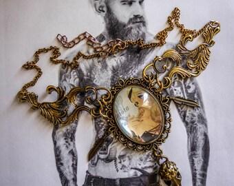 Bronze cabochon necklace steampunk tattoo skullbird feathers ♠Aurora♠