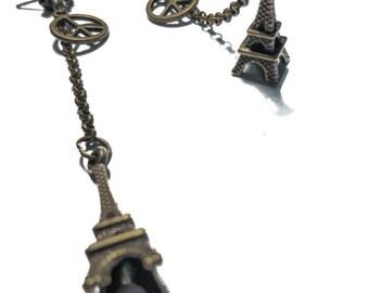 Earrings long I love Paris eiffel tower steampunk