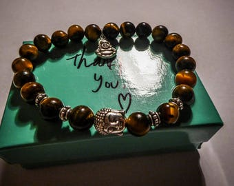 Bracelet Brown Tiger eye stone beads, Tierracast Buddha MC Ink