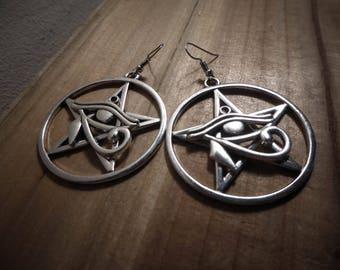 "Earrings silver goth pentagram ""666 666 Cleopatra"""