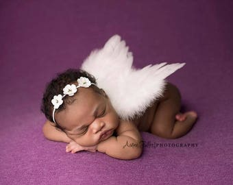 WHITE NEWBORN Feather Wings, Newborn Wings with Flower Crown Headband, Newborn Photo Prop, Newborn baby wings, angel wings, White wings