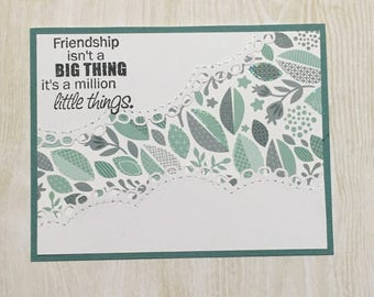 Greeting card, Handmade card, occasion card, friendship card, green and grey