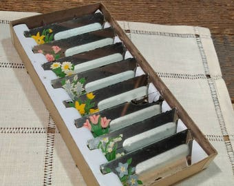 Vintage / Antique 40s Handpainted Mirror Place Cards / Place Holders / Floral / Flowers / Wedding / Bridge / Luncheon / In Original Box
