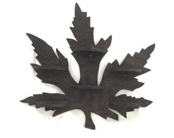 Maple Leaf Shelf, Vintage Wooden Wall Mount Trinket Shelf