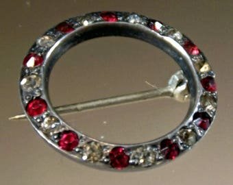 Brooch Sterling Silver Vintage Circle Hallmarked Clear and Ruby Spinels Small Heavy C Clasp 1940s Unique Classic Vintage