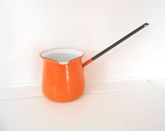 Vintage 1950s to 1960s Enamel Ladle Pitcher ORANGE /Black/White Turkish Coffee Server Pourer Gravy Sauce Butter Chocolate Melter Short