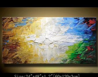 contemporary wall art,, Modern Textured Painting,Impasto  Landscape  Textured Modern Palette Knife Painting,Painting on Canvas by Chen 0628