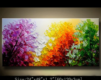 contemporary wall art,Palette Knife Painting,colorful Landscape painting,wall decor,Home Decor,Acrylic Textured Painting ON Canvas Chen 0720