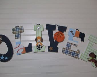 "OLIVER - 12.00 per LETTER 8-1/2"" - 9"" wood letters, lambs & ivy bow wow buddies bedding, basketball, baseball, football, soccer, puppies"