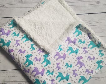 Fawn Flannel Blanket with Sherpa wool Carseat Blanket Crib Blanket Baby Blanket