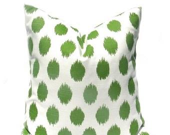 15% Off Sale Green Pillow Green Pillow Cover Decorative Pillow Ikat Pillow Polka Dot Pillow Couch Pillow Cover Throw Pillow Cover Pillows Ke