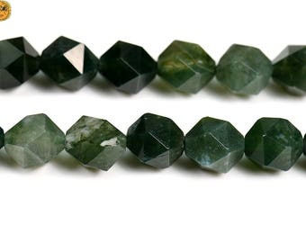 15 inch strand of moss Agate faceted nugget beads,diamond beads 6mm 8mm 10mm for choose